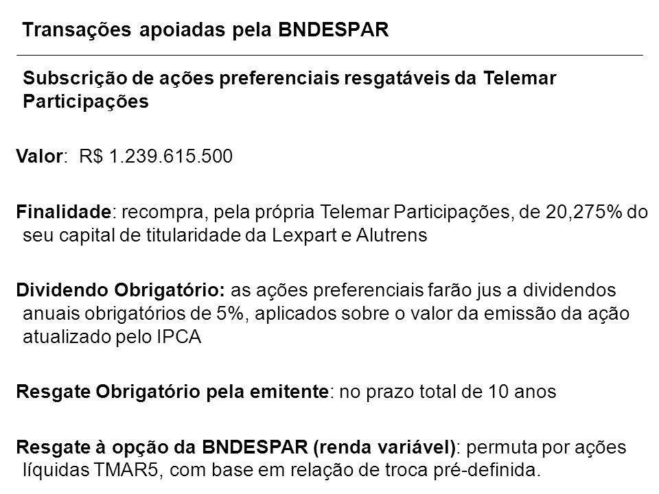 Transações apoiadas pela BNDESPAR Subscrição de ações preferenciais resgatáveis da Telemar Participações Valor: R$ 1.239.615.500 Finalidade: recompra,