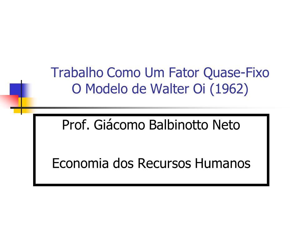 Trabalho Como Um Fator Quase-Fixo O Modelo de Walter Oi (1962) Prof. Giácomo Balbinotto Neto Economia dos Recursos Humanos