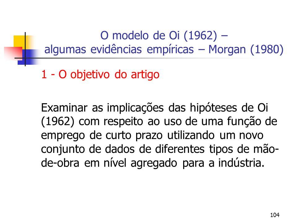 104 O modelo de Oi (1962) – algumas evidências empíricas – Morgan (1980) 1 - O objetivo do artigo Examinar as implicações das hipóteses de Oi (1962) c
