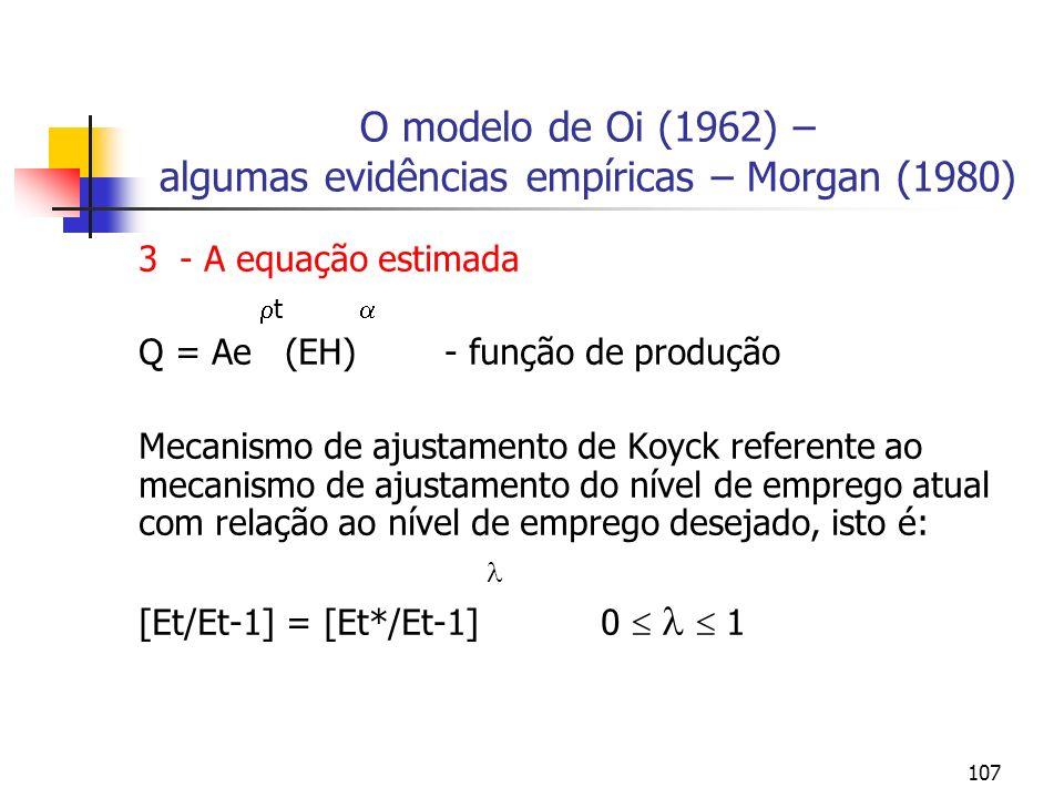 107 O modelo de Oi (1962) – algumas evidências empíricas – Morgan (1980) 3 - A equação estimada t Q = Ae (EH) - função de produção Mecanismo de ajusta