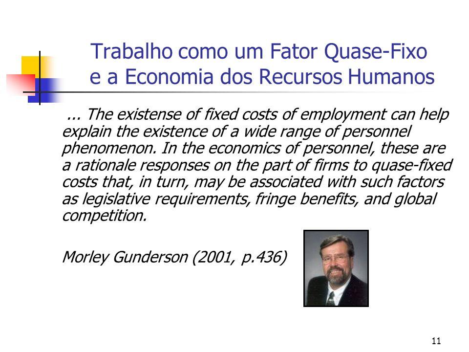 11 Trabalho como um Fator Quase-Fixo e a Economia dos Recursos Humanos... The existense of fixed costs of employment can help explain the existence of