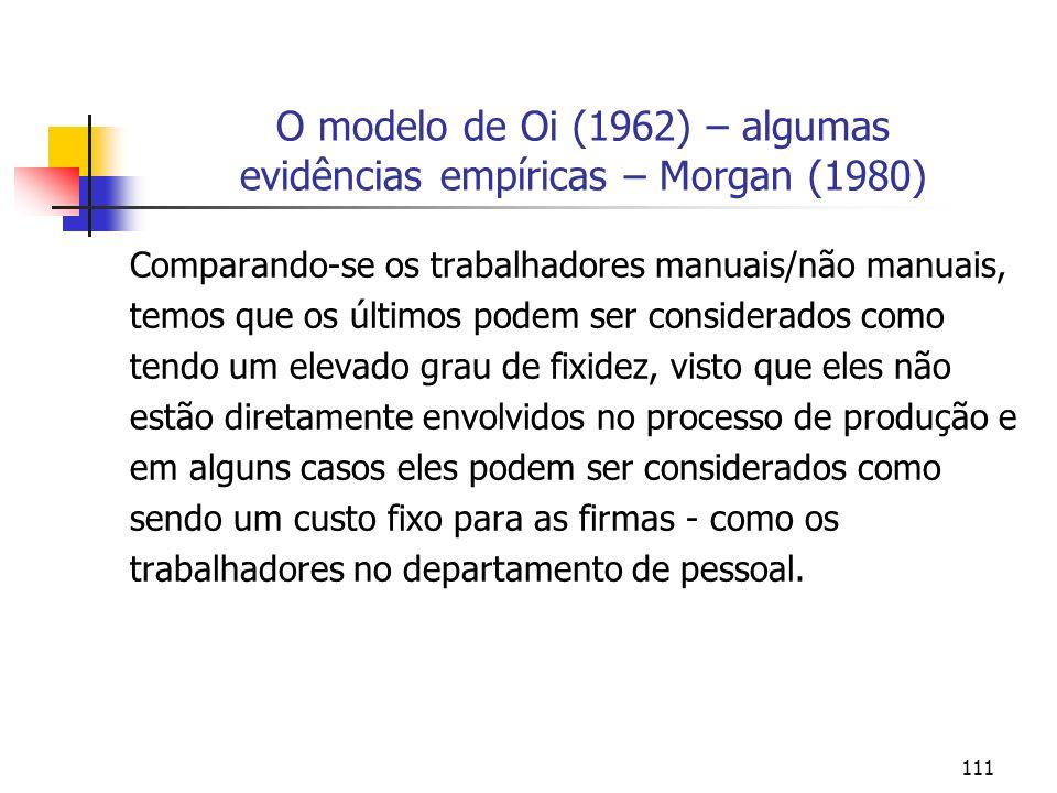 111 O modelo de Oi (1962) – algumas evidências empíricas – Morgan (1980) Comparando-se os trabalhadores manuais/não manuais, temos que os últimos pode