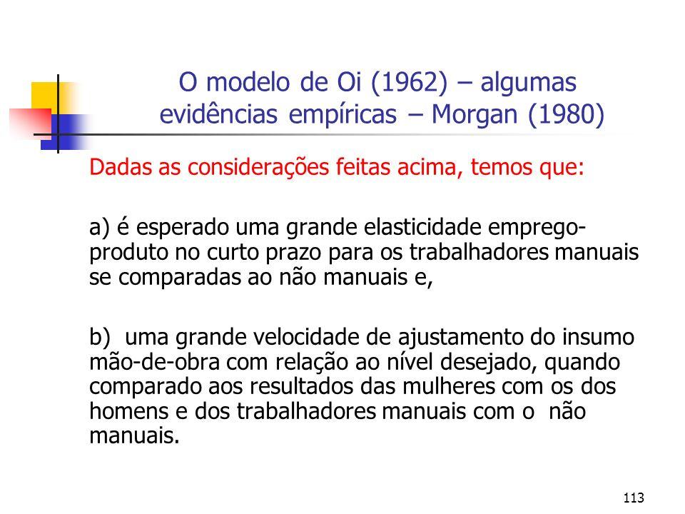 113 O modelo de Oi (1962) – algumas evidências empíricas – Morgan (1980) Dadas as considerações feitas acima, temos que: a) é esperado uma grande elas