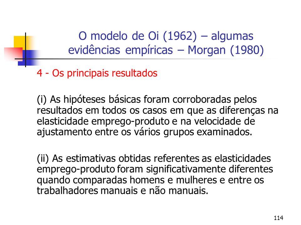 114 O modelo de Oi (1962) – algumas evidências empíricas – Morgan (1980) 4 - Os principais resultados (i) As hipóteses básicas foram corroboradas pelo
