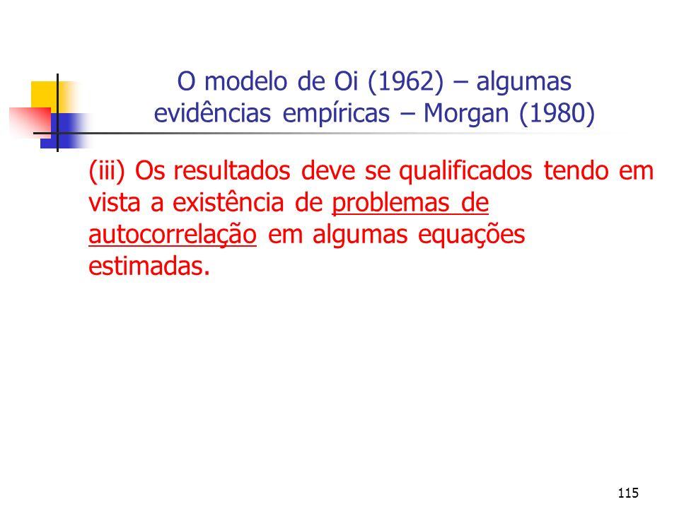 115 O modelo de Oi (1962) – algumas evidências empíricas – Morgan (1980) (iii) Os resultados deve se qualificados tendo em vista a existência de probl