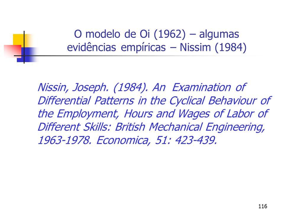 116 O modelo de Oi (1962) – algumas evidências empíricas – Nissim (1984) Nissin, Joseph. (1984). An Examination of Differential Patterns in the Cyclic