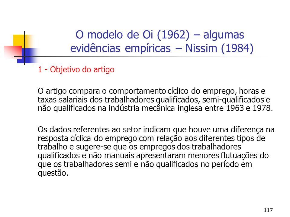 117 O modelo de Oi (1962) – algumas evidências empíricas – Nissim (1984) 1 - Objetivo do artigo O artigo compara o comportamento cíclico do emprego, h