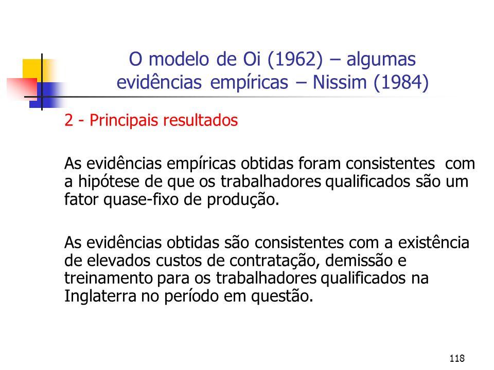 118 O modelo de Oi (1962) – algumas evidências empíricas – Nissim (1984) 2 - Principais resultados As evidências empíricas obtidas foram consistentes