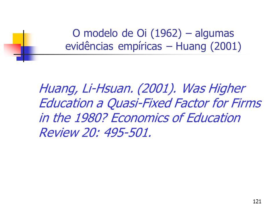 121 O modelo de Oi (1962) – algumas evidências empíricas – Huang (2001) Huang, Li-Hsuan. (2001). Was Higher Education a Quasi-Fixed Factor for Firms i