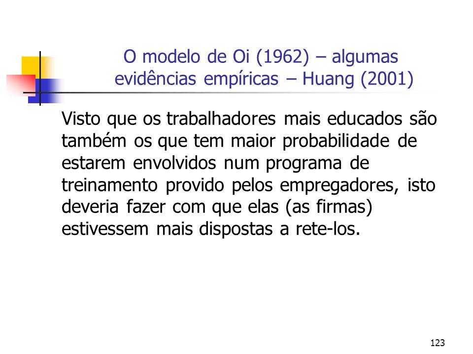 123 O modelo de Oi (1962) – algumas evidências empíricas – Huang (2001) Visto que os trabalhadores mais educados são também os que tem maior probabili