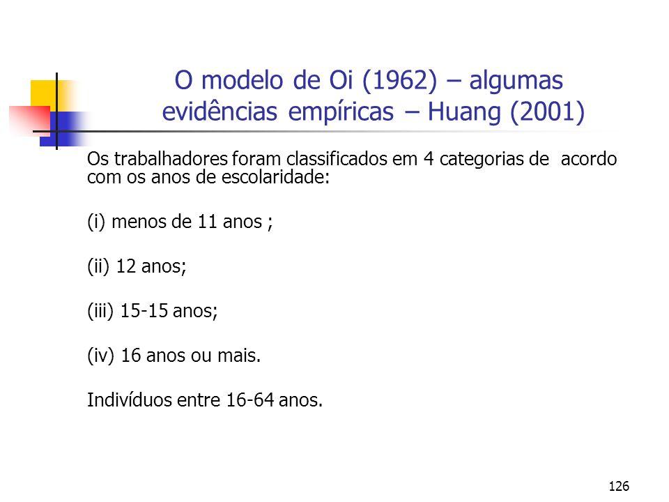 126 O modelo de Oi (1962) – algumas evidências empíricas – Huang (2001) Os trabalhadores foram classificados em 4 categorias de acordo com os anos de