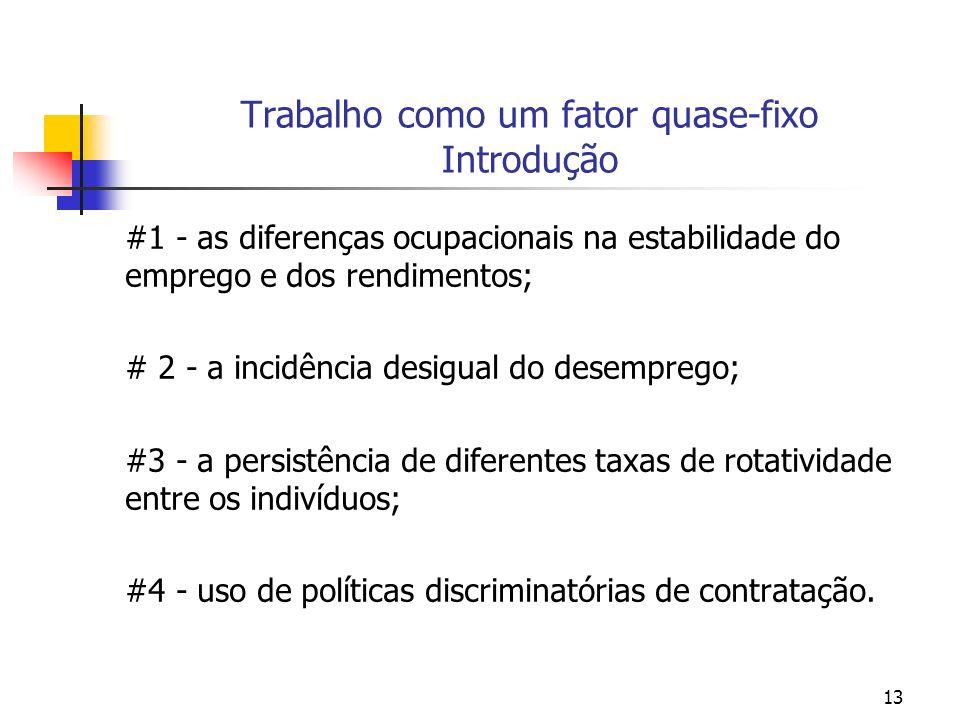 13 Trabalho como um fator quase-fixo Introdução #1 - as diferenças ocupacionais na estabilidade do emprego e dos rendimentos; # 2 - a incidência desig