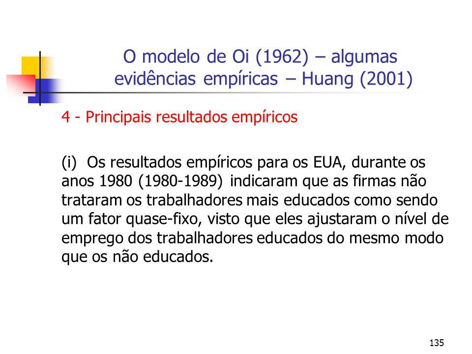 135 O modelo de Oi (1962) – algumas evidências empíricas – Huang (2001) 4 - Principais resultados empíricos (i) Os resultados empíricos para os EUA, d