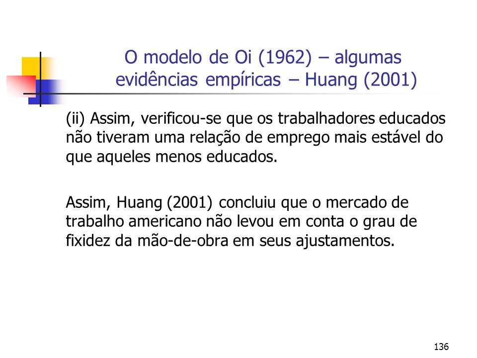 136 O modelo de Oi (1962) – algumas evidências empíricas – Huang (2001) (ii) Assim, verificou-se que os trabalhadores educados não tiveram uma relação
