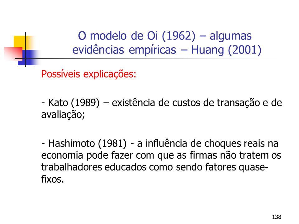 138 O modelo de Oi (1962) – algumas evidências empíricas – Huang (2001) Possíveis explicações: - Kato (1989) – existência de custos de transação e de