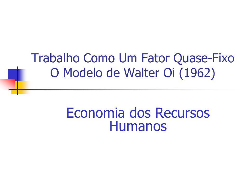 Trabalho Como Um Fator Quase-Fixo O Modelo de Walter Oi (1962) Economia dos Recursos Humanos