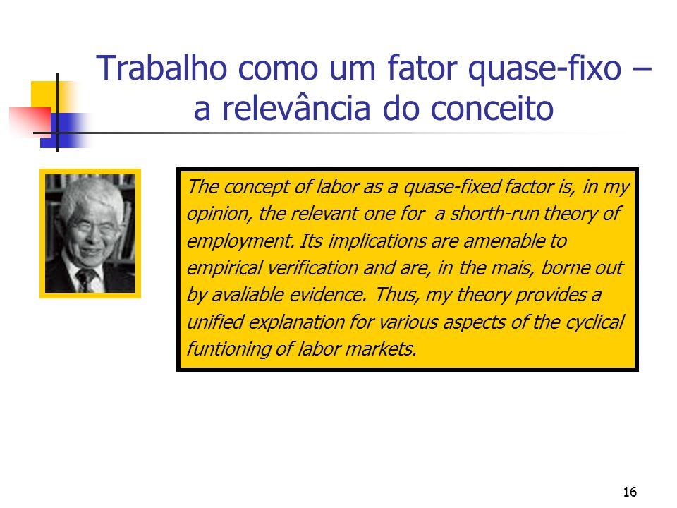 16 Trabalho como um fator quase-fixo – a relevância do conceito The concept of labor as a quase-fixed factor is, in my opinion, the relevant one for a