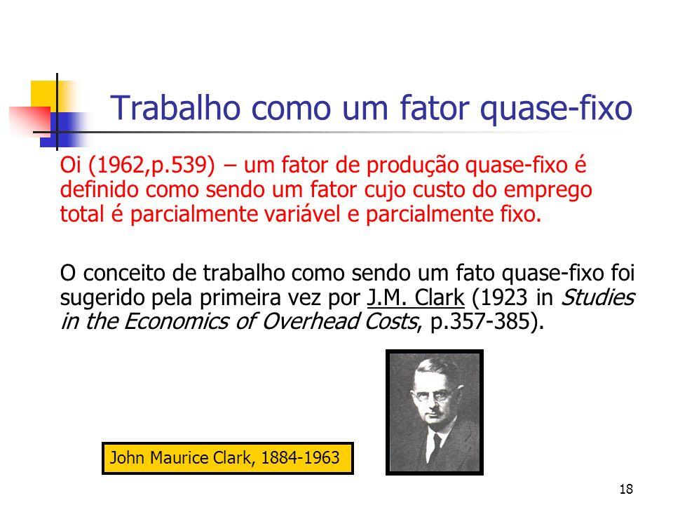 18 Trabalho como um fator quase-fixo Oi (1962,p.539) – um fator de produção quase-fixo é definido como sendo um fator cujo custo do emprego total é pa