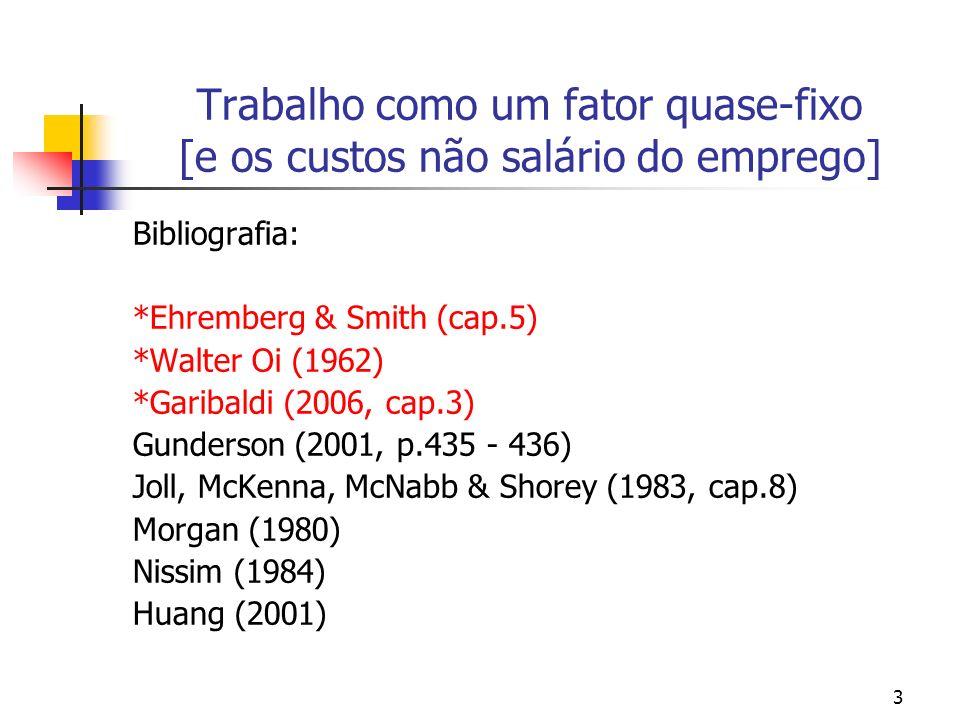 3 Trabalho como um fator quase-fixo [e os custos não salário do emprego] Bibliografia: *Ehremberg & Smith (cap.5) *Walter Oi (1962) *Garibaldi (2006,