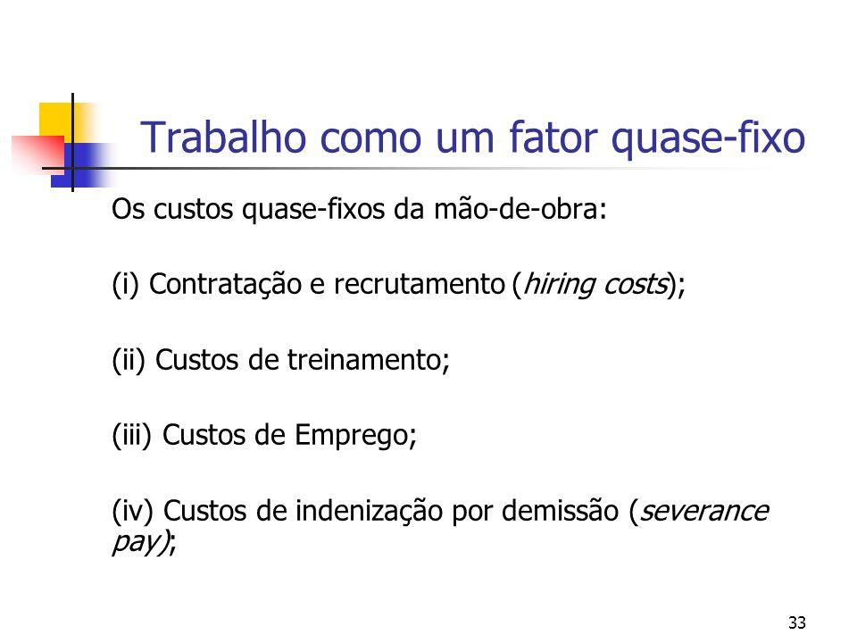 33 Trabalho como um fator quase-fixo Os custos quase-fixos da mão-de-obra: (i) Contratação e recrutamento (hiring costs); (ii) Custos de treinamento;