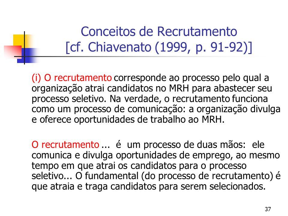 37 Conceitos de Recrutamento [cf. Chiavenato (1999, p. 91-92)] (i) O recrutamento corresponde ao processo pelo qual a organização atrai candidatos no