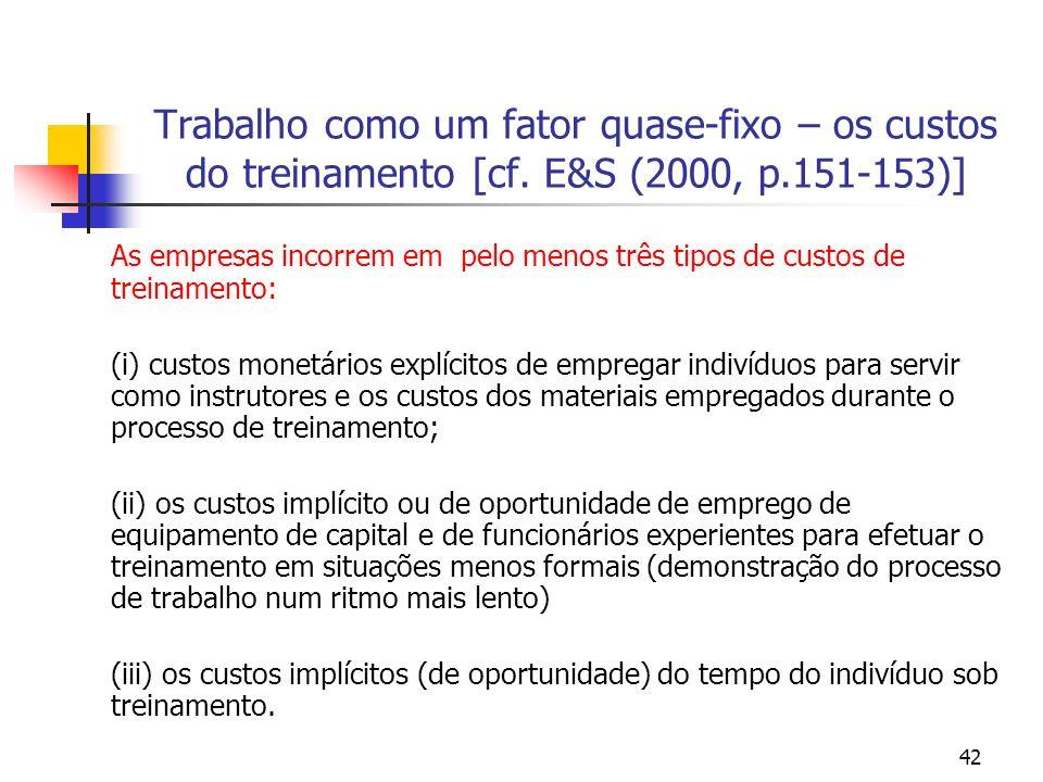 42 Trabalho como um fator quase-fixo – os custos do treinamento [cf. E&S (2000, p.151-153)] As empresas incorrem em pelo menos três tipos de custos de