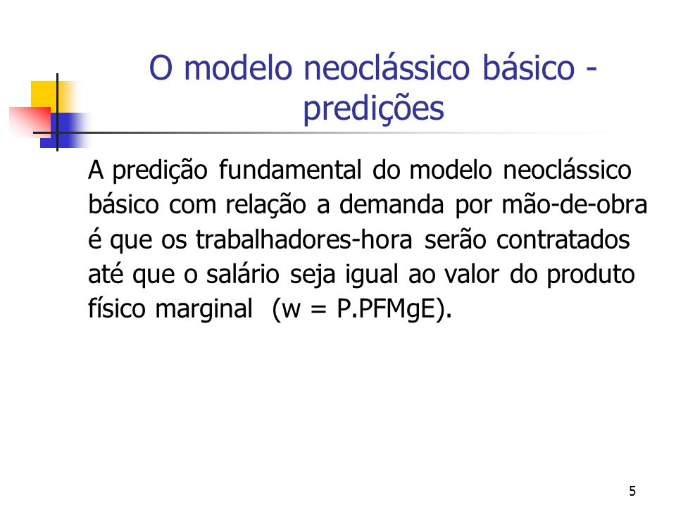 5 O modelo neoclássico básico - predições A predição fundamental do modelo neoclássico básico com relação a demanda por mão-de-obra é que os trabalhad