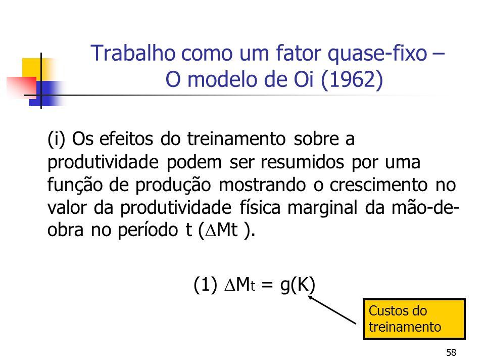 58 Trabalho como um fator quase-fixo – O modelo de Oi (1962) (i) Os efeitos do treinamento sobre a produtividade podem ser resumidos por uma função de