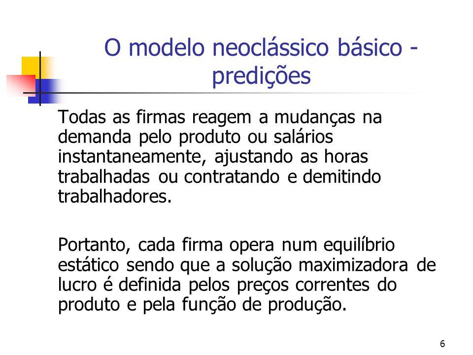 6 O modelo neoclássico básico - predições Todas as firmas reagem a mudanças na demanda pelo produto ou salários instantaneamente, ajustando as horas t