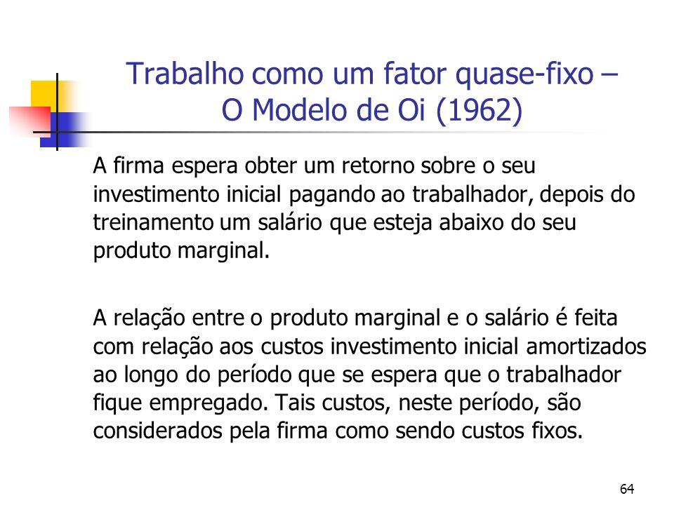 64 Trabalho como um fator quase-fixo – O Modelo de Oi (1962) A firma espera obter um retorno sobre o seu investimento inicial pagando ao trabalhador,