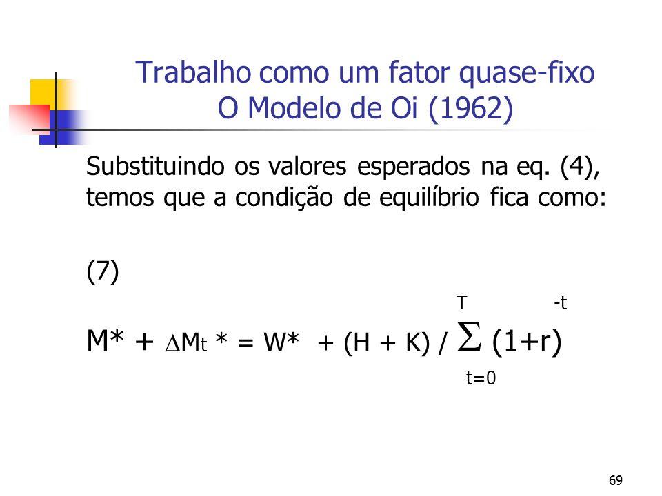 69 Trabalho como um fator quase-fixo O Modelo de Oi (1962) Substituindo os valores esperados na eq. (4), temos que a condição de equilíbrio fica como: