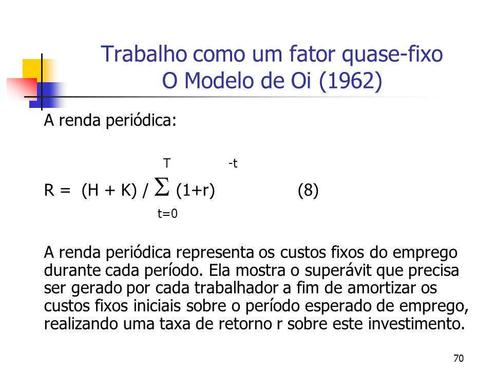 70 Trabalho como um fator quase-fixo O Modelo de Oi (1962) A renda periódica: T -t R = (H + K) / (1+r) (8) t=0 A renda periódica representa os custos