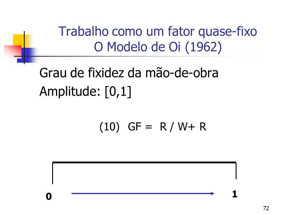 72 Trabalho como um fator quase-fixo O Modelo de Oi (1962) Grau de fixidez da mão-de-obra Amplitude: [0,1] (10) GF = R / W+ R 0 1
