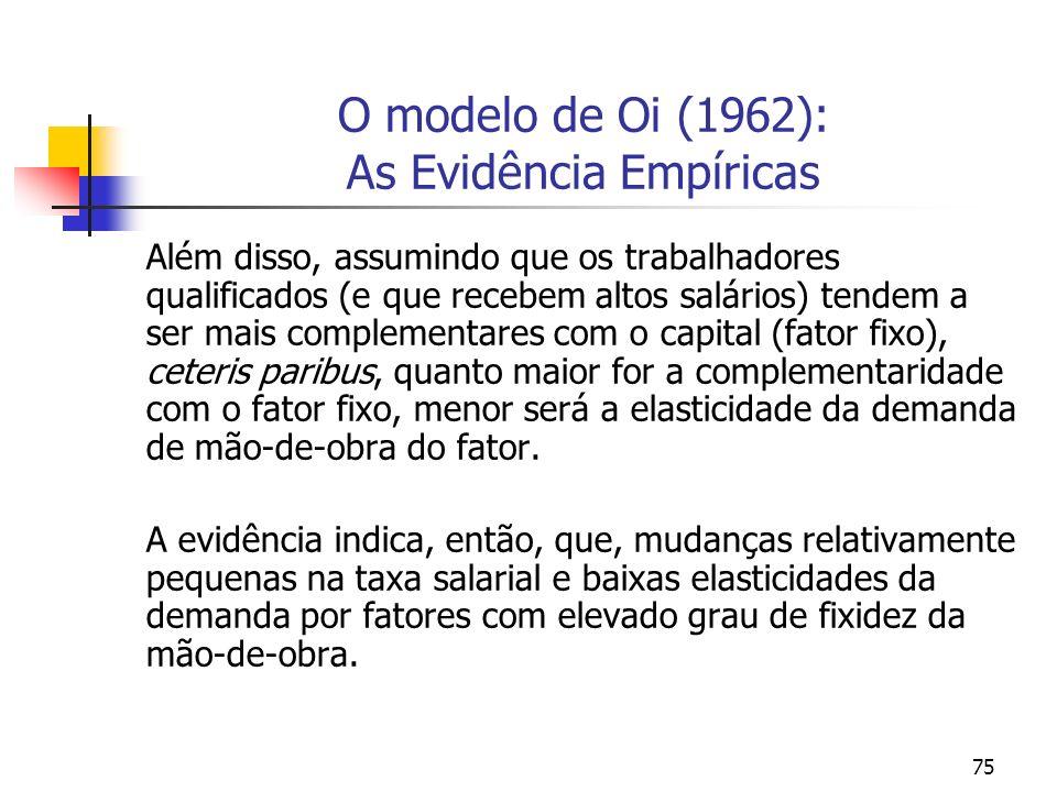 75 O modelo de Oi (1962): As Evidência Empíricas Além disso, assumindo que os trabalhadores qualificados (e que recebem altos salários) tendem a ser m