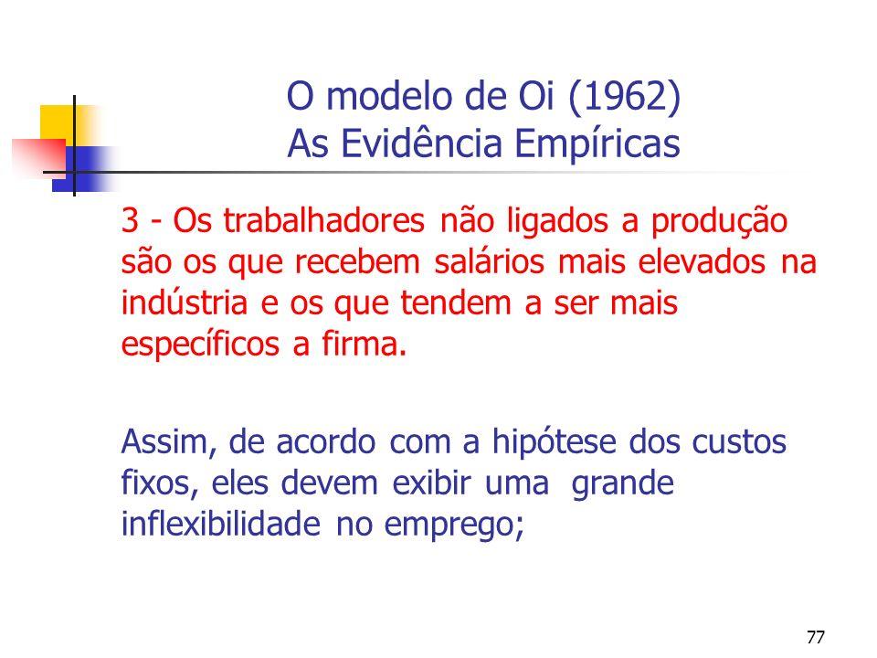 77 O modelo de Oi (1962) As Evidência Empíricas 3 - Os trabalhadores não ligados a produção são os que recebem salários mais elevados na indústria e o