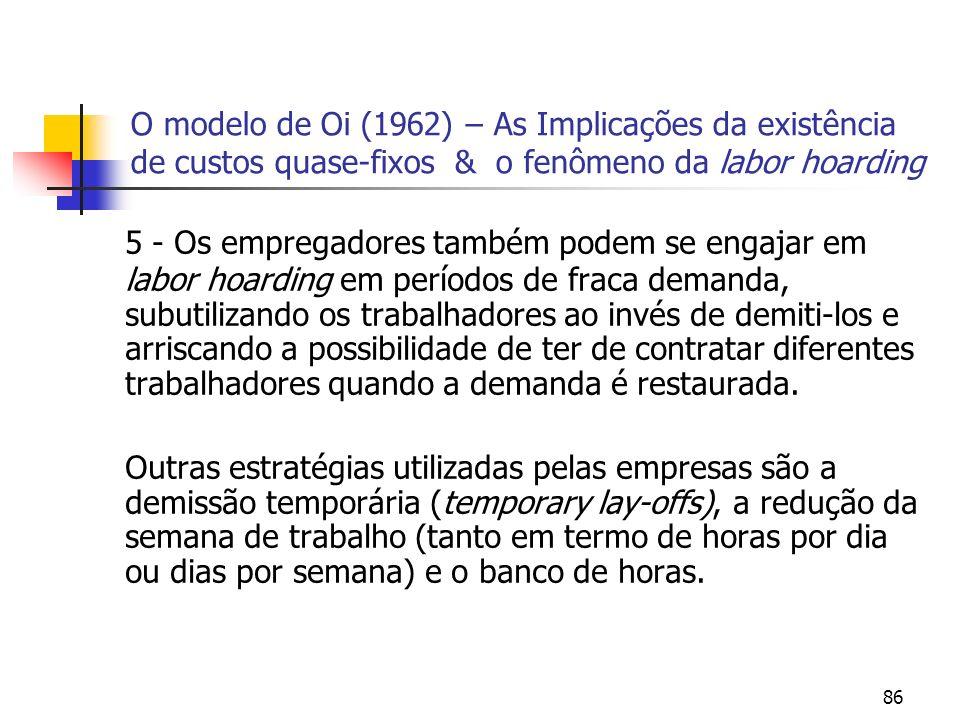86 O modelo de Oi (1962) – As Implicações da existência de custos quase-fixos & o fenômeno da labor hoarding 5 - Os empregadores também podem se engaj