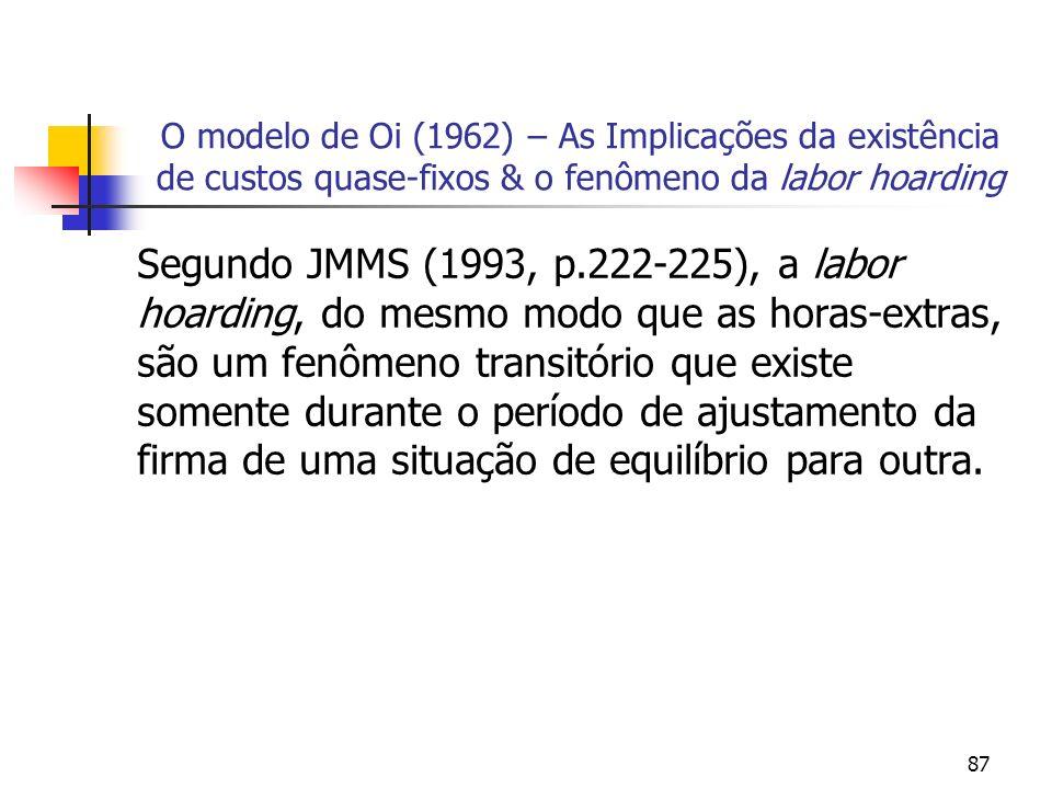 87 O modelo de Oi (1962) – As Implicações da existência de custos quase-fixos & o fenômeno da labor hoarding Segundo JMMS (1993, p.222-225), a labor h