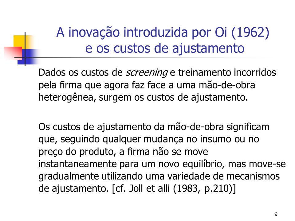 9 A inovação introduzida por Oi (1962) e os custos de ajustamento Dados os custos de screening e treinamento incorridos pela firma que agora faz face