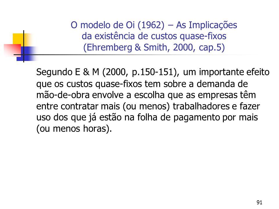 91 O modelo de Oi (1962) – As Implicações da existência de custos quase-fixos (Ehremberg & Smith, 2000, cap.5) Segundo E & M (2000, p.150-151), um imp