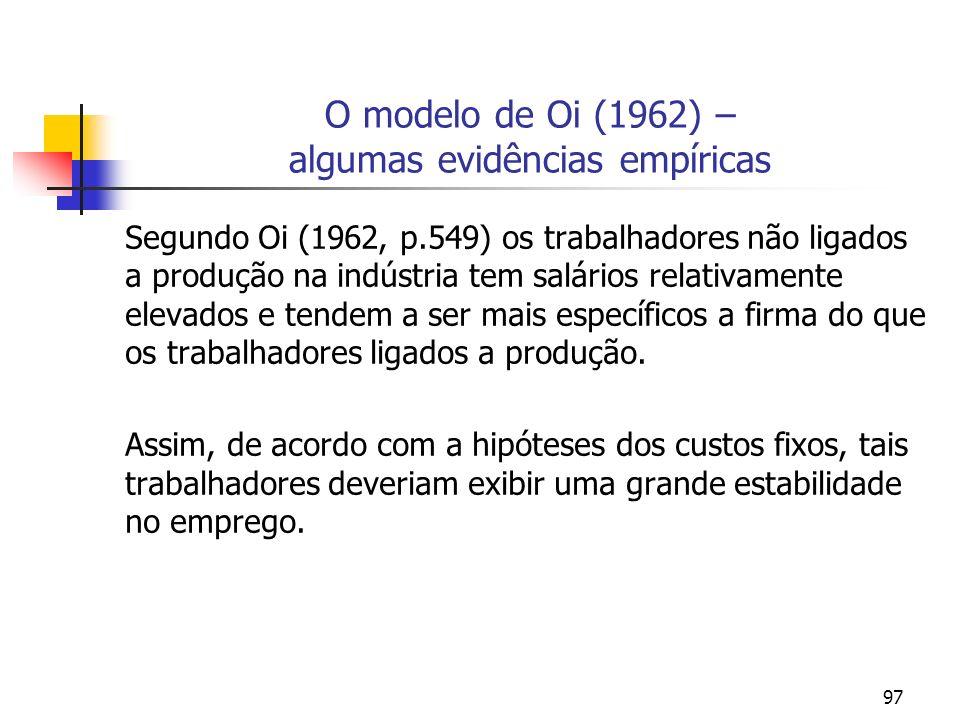 97 O modelo de Oi (1962) – algumas evidências empíricas Segundo Oi (1962, p.549) os trabalhadores não ligados a produção na indústria tem salários rel