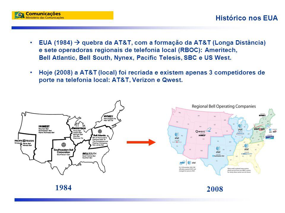 Histórico nos EUA EUA (1984) quebra da AT&T, com a formação da AT&T (Longa Distância) e sete operadoras regionais de telefonia local (RBOC): Ameritech, Bell Atlantic, Bell South, Nynex, Pacific Telesis, SBC e US West.