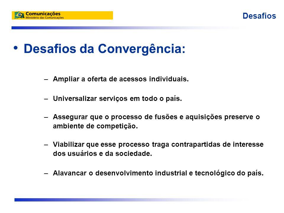 Desafios da Convergência: –Ampliar a oferta de acessos individuais. –Universalizar serviços em todo o país. –Assegurar que o processo de fusões e aqui