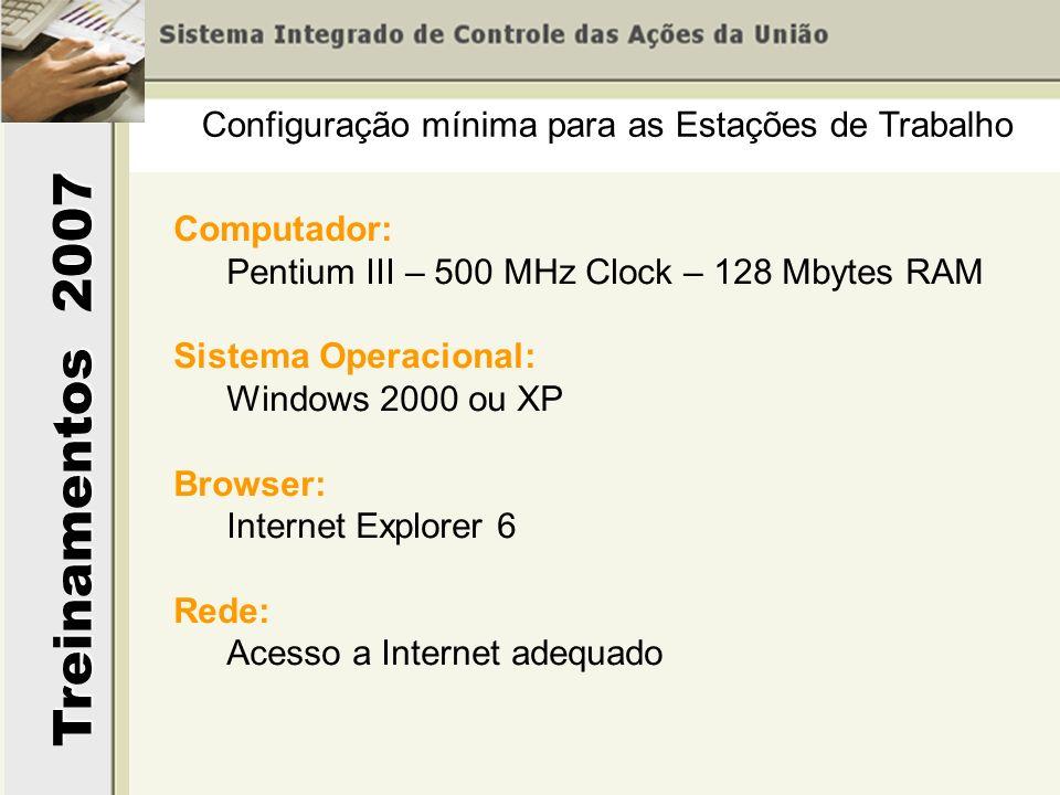 Treinamentos 2007 Configuração mínima para as Estações de Trabalho Computador: Pentium III – 500 MHz Clock – 128 Mbytes RAM Sistema Operacional: Windo