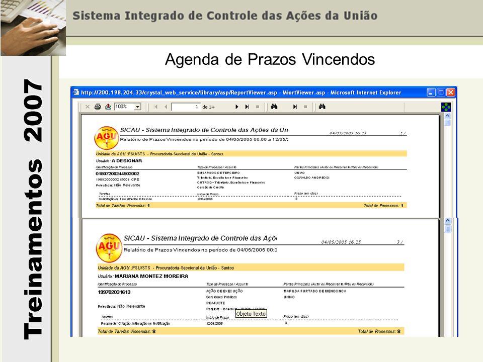 Treinamentos 2007 Agenda de Prazos Vincendos