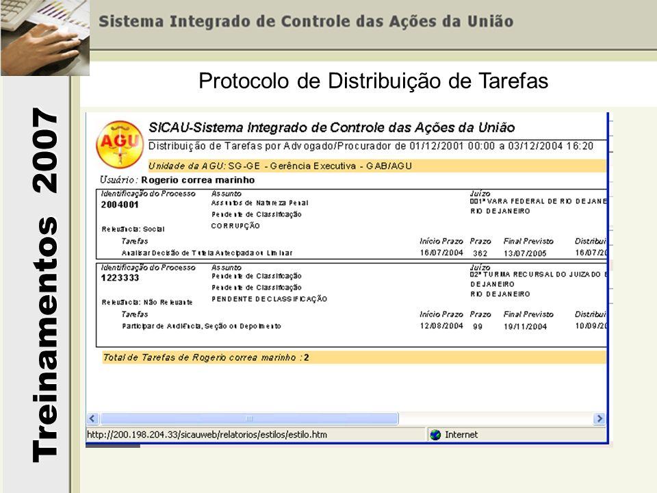 Treinamentos 2007 Protocolo de Distribuição de Tarefas