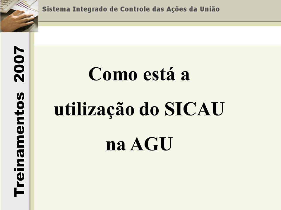 Treinamentos 2007 Como está a utilização do SICAU na AGU