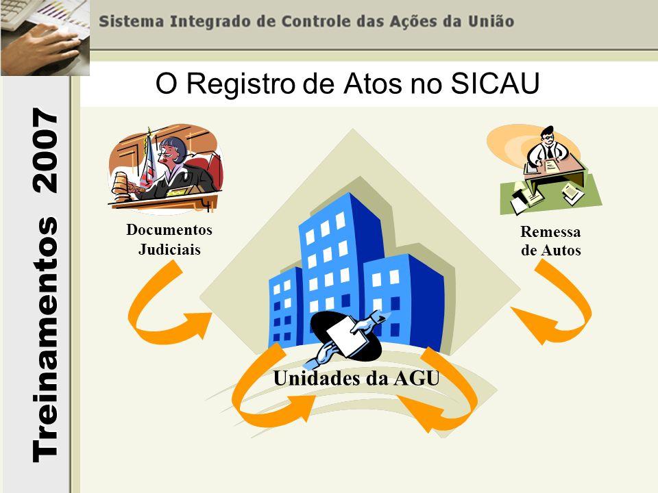 Treinamentos 2007 O Registro de Atos no SICAU Documentos Judiciais Unidades da AGU Remessa de Autos