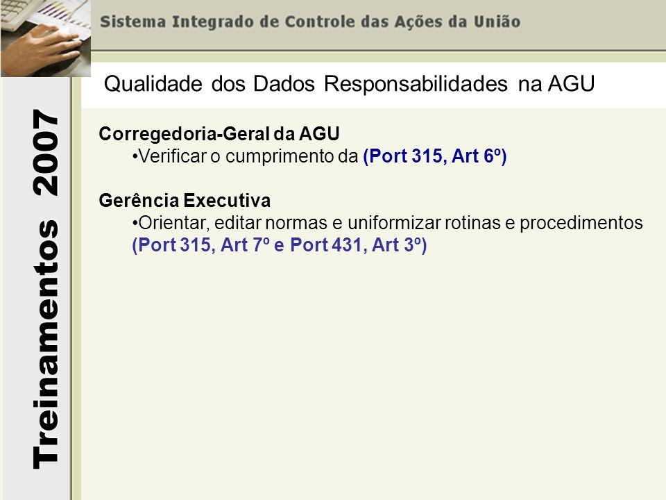 Treinamentos 2007 Qualidade dos Dados Responsabilidades na AGU Corregedoria-Geral da AGU Verificar o cumprimento da (Port 315, Art 6º) Gerência Execut