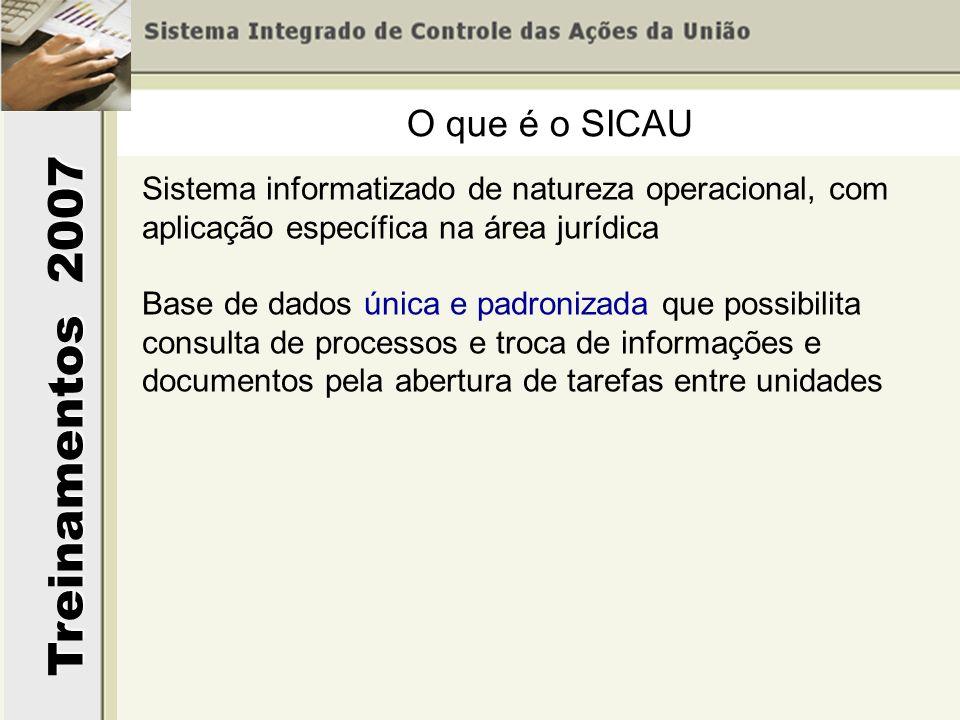 Treinamentos 2007 O que é o SICAU Sistema informatizado de natureza operacional, com aplicação específica na área jurídica Base de dados única e padro