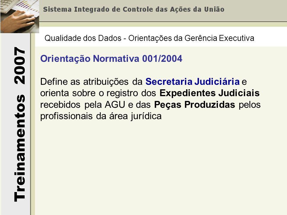 Treinamentos 2007 Qualidade dos Dados - Orientações da Gerência Executiva Orientação Normativa 001/2004 Define as atribuições da Secretaria Judiciária